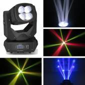 4x 25W LED Super-Beam X4 DMX Movinghead 5 - 40° Zoom Fächer & Flower Club Effek
